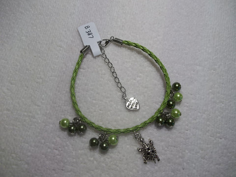 Green Braid Leather Silver Turtle Green Pearls Bracelet (B387)