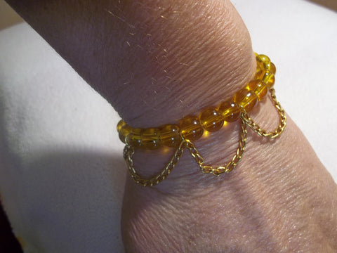 Orange Glass Bead Gold Chain Stretchy Bracelet (B395)