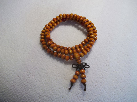 Orange Wooden Bead Stretchy Bracelet (B401)