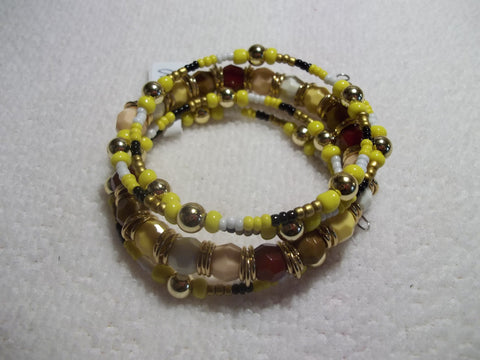 Memory Wire Yellow Brown Burgundy Multi Color Bracelet (B403)