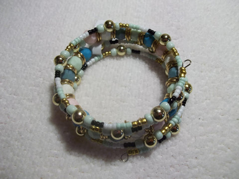 Memory Wire Blue Pink White Multi Color Bead Bracelet (B404)