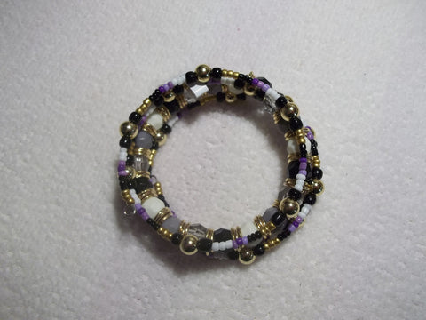 Memory Wire Purple White Black Multi Color Bead Bracelet (B405)