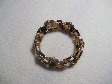 Memory Wire Brown Black White Multi Color Bead Bracelet (B406)