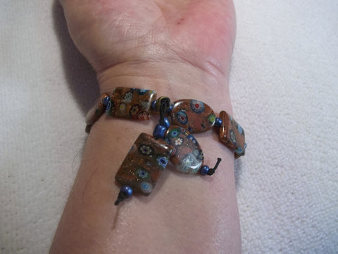 Copper Flower Glass Beads Stretchy Bracelet (B421)