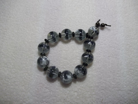 Black Glass Bead Stretchy Bracelet (B424)
