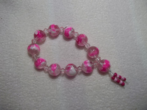 Bright Pink Glass Bead Stretchy Bracelet (B427)