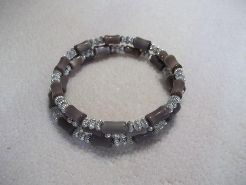 Memory Wire Silver Brown Bead Bracelet (B430)