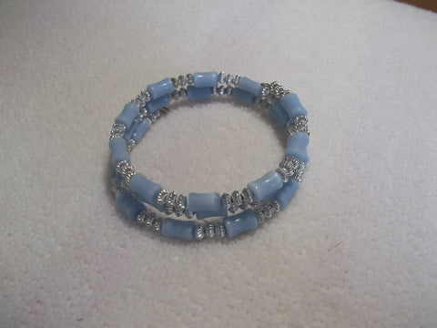 Memory Wire Silver Light Blues Bead Bracelet (B431)