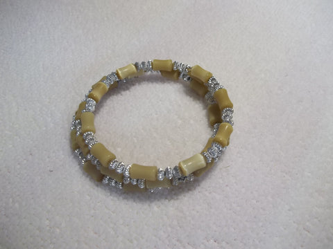 Memory Wire Silver Brownish Yellow Bracelet (B433)