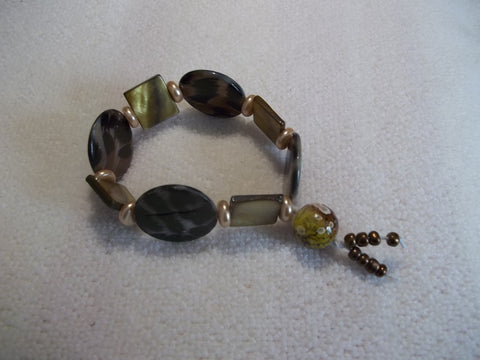 Black Brown Yellow Animal Print Glass Bead Stretchy Bracelet (B434)