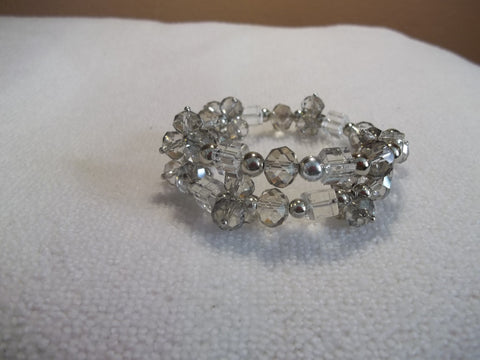Memory Wire Smoke Gray Clear Crystal Bracelet (B439)