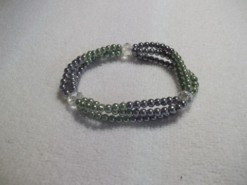 Stretchy Green Gray Clear Glass Beads Bracelet (B442)
