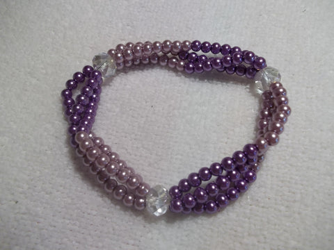 Stretchy Pink Purple Clear Glass Beads Bracelet (B443)