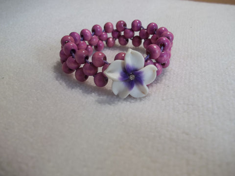 Stretchy Pink Wooden Beads White Purple Flower Bracelet (B444)
