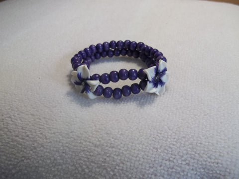 Stretchy Purple Wooden Beads White Purple Flowers Bracelet (B446)