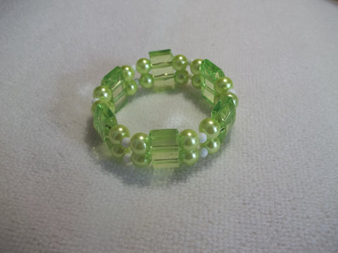 Double Stretchy Light Green White Beads Bracelet (B449)