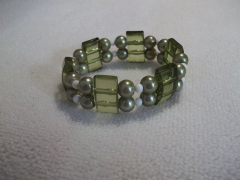 Double Stretchy Sage Green White Beads Bracelet (B450)