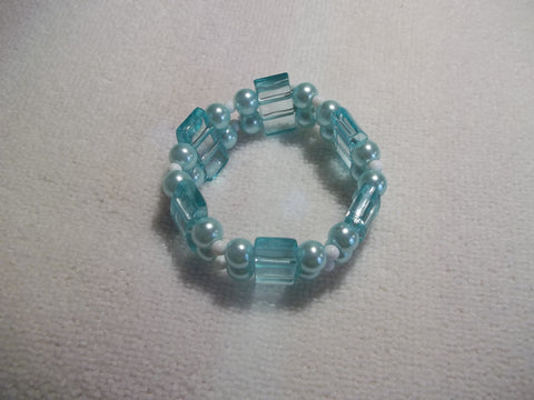 Double Stretchy Light Blue White Beads Bracelet (B451)