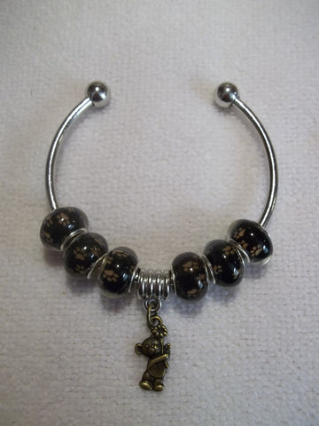 Silver Brown Paws Beads Bronze Bear Cuff Bracelet (B459)