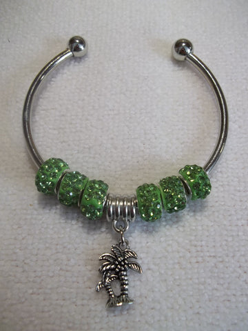 Silver Green Sparkle Beads Silver Palm Trees Cuff Bracelet (B461)