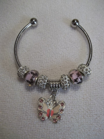 Silver Pink Butterfly Beads White Sparkle Beads White Pink Butterfly Cuff Bracelet (B463)