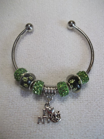 "Silver Green Paws Sparkle Beads Silver ""I Love My Cat"" Cuff Bracelet (B465)"