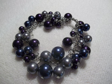 Blue Purple Gray Pearl Bracelet (B474)