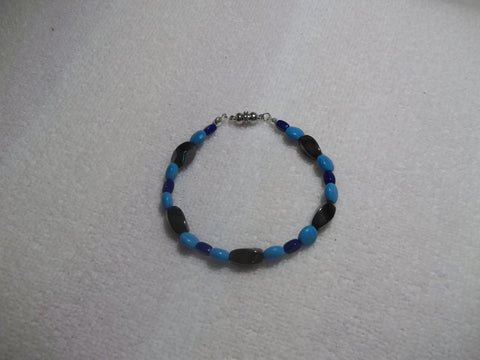 Black Magnetic Blue Glass Beads Bracelet (B480)