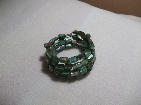 Memory Wire Green Mother of Pearl Bracelet (B481)
