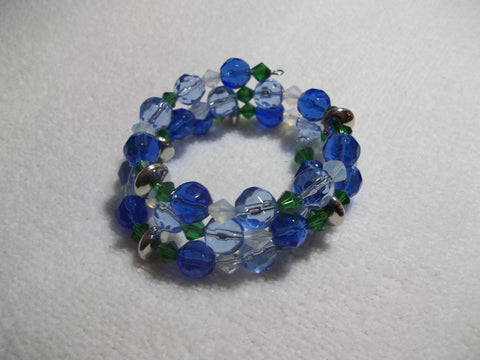 Memory Wire Blue Green Glass Bead Silver Bead Bracelet (B485)