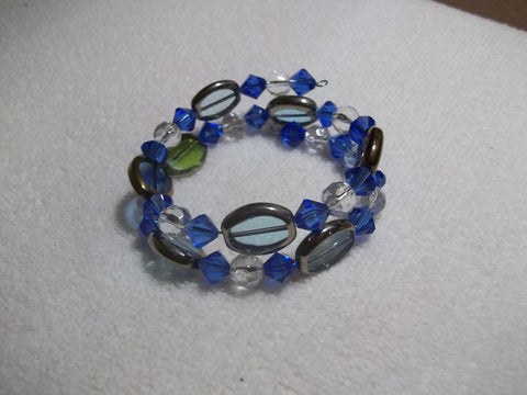 Memory Wire Oval Blue Glass Bead Bracelet (B486)