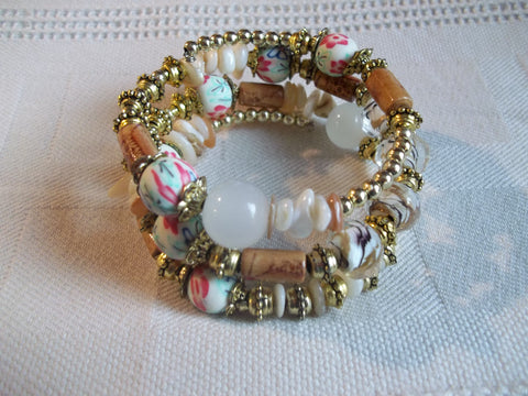 Memory Wire Brown Gold Flower Beads Bracelet (B489)