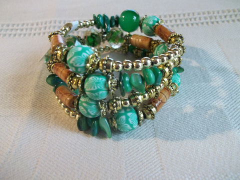 Memory Wire Green Gold Brown Flower Beads Bracelet (B490)