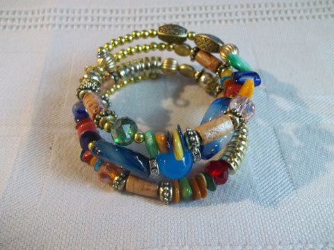 Memory Wire Multi Color Beads Gold Beads Bracelet (B491)