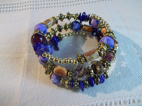 Memory Wire Purple Brown Gold Flower Bead Bracelet (B492)