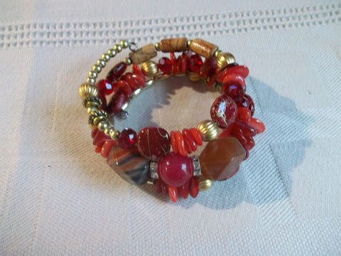 Memory Wire Red Gold Brown Beads Bracelet (B493)
