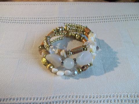 Memory Wire White Brown Gold Beads Bracelet (B494)