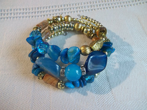 Memory Wire Bracelet Blue Brown Gold Beads Bracelet (B496)