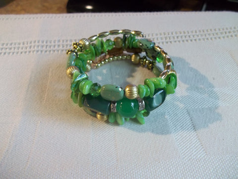 Memory Wire Green Brown Gold Bead Bracelet (B499)