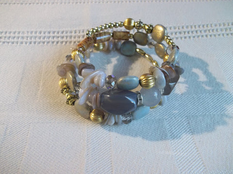Memory Wire Light Purple Brown Gold White Bead Bracelet (B501)