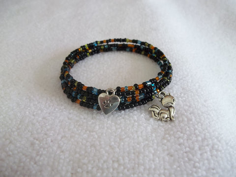 Memory Wire Black Multi Color Glass Seed Beads Silver Fox Silver Paw Bracelet (B510)