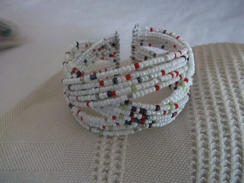 Memory Wire White Multi Color Seed Beads Braided Bracelet (B511)