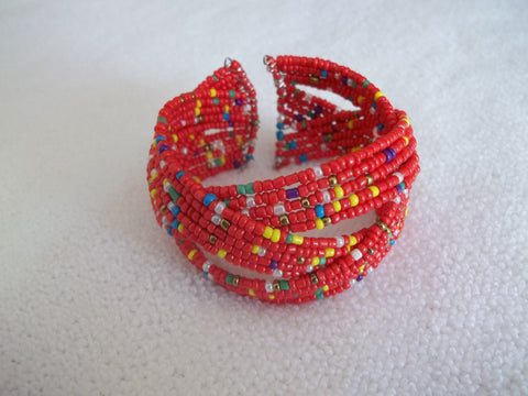 Memory Wire Red Multi Color Seed Beads Braided Bracelet (B512)