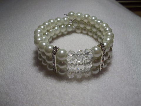 Memory Wire Clear Crystal Silver Bling Pearls Bracelet (B514)