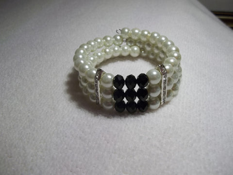 Memory Wire Black Crystal Silver Bling Pearls Bracelet (B516)