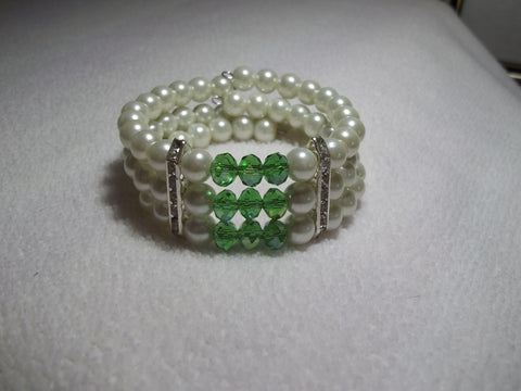 Memory Wire Green Crystal Silver Bling Pearls Bracelet (B517)
