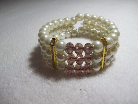 Memory Wire Purple Crystal Gold Bling Pearls Bracelet (B519)