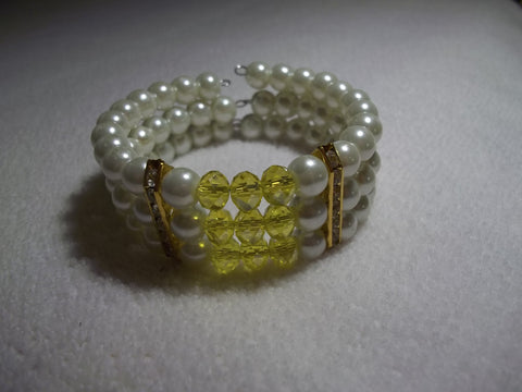 Memory Wire Yellow Crystal Gold Bling Pearls Bracelet (B520)