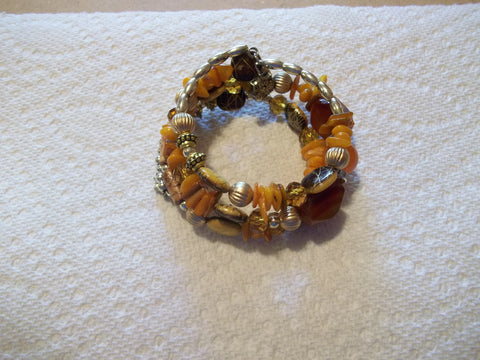 Memory Wire Orange Glass Bead Bracelet (B524)