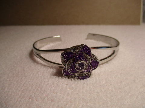 Silver Cuff Purple Snap Button Flower Pendant Bracelet (B529)